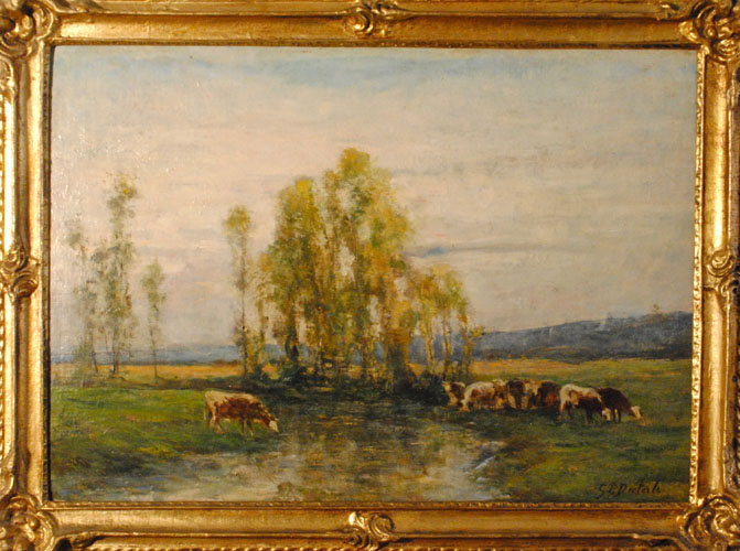 Georges Pierre Diéterlec - French Barbizon School, (1844-1927) - Huit vaches au pâturage par un ruisseau, c. 1888