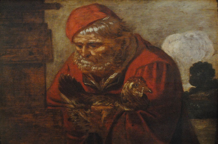 Peeter Baltens (1527-1584) (Suiveur de) - Flemish Old Master, c. 1603 - An Old Man carrying a Hen, an Allegory of Winter