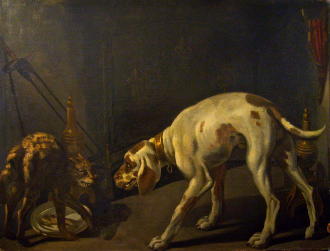 Studio of Jean-Baptiste Oudry - French Rococco (1686-1755) - Guerre entre chat et chien c. 1727