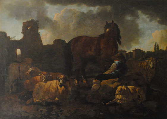 Follower of Philipp Peter Roos (Rosa de Tivoli) - German Baroque, 1655-1706 - Italian landscape and ruins with a shepherd, his sheep, a dog and horse , c. 1680