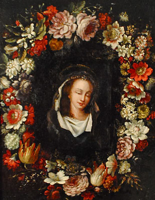 Jean-Baptiste Belin de Fontenay (Attributed to) - French, 1653-1720 - Guirlande de fleurs, roses, boules de neige, anémones, jacinthes,oeillets et autres fleurs.  Au centre, une jeune femme